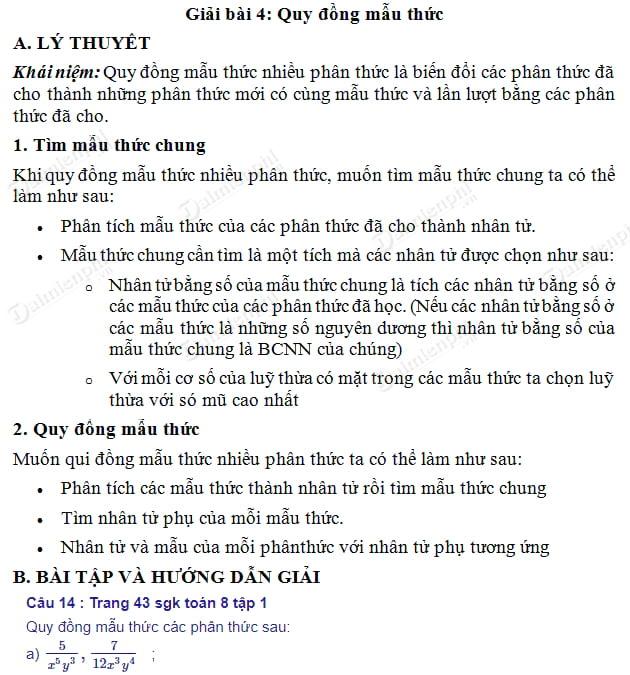 giai toan 8 trang 43 44 sgk tap 1 quy dong mau thuc