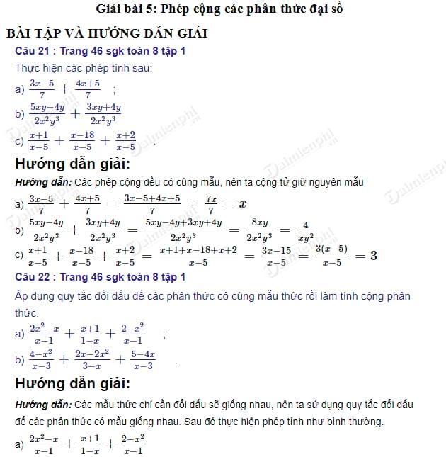 giai toan 8 trang 46 47 sgk tap 1 phep cong cac phan thuc dai so