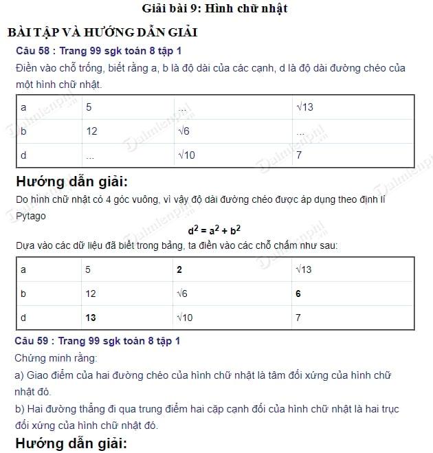 giai toan 8 trang 99 100 sgk tap 1 hinh chu nhat