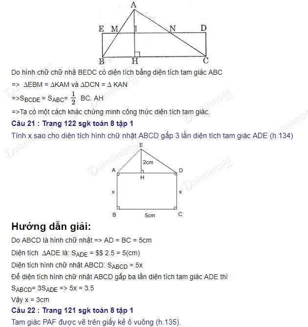 Giải bài tập trang 121, 122, 123 SGK Toán 8 Tập 1