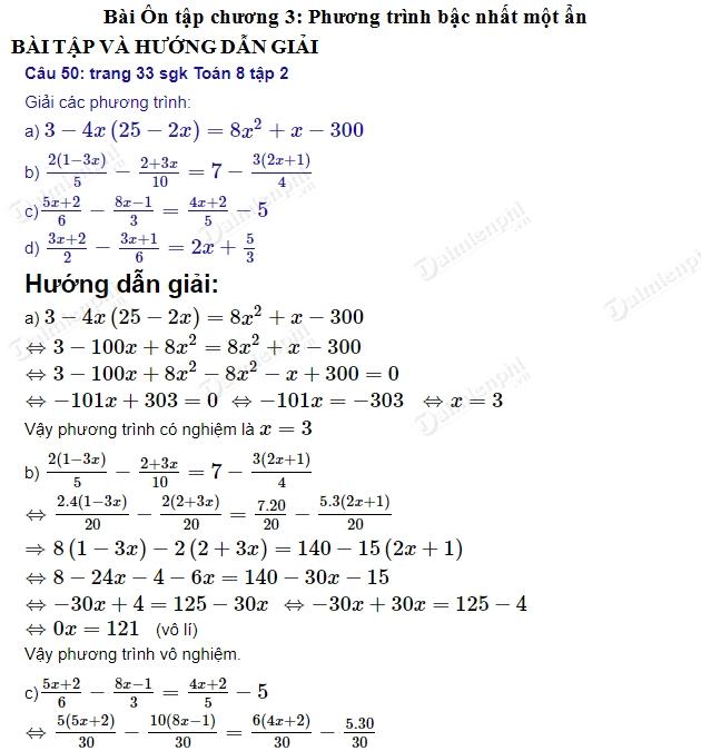 giai toan 8 trang 32 33 sgk tap 2 on tap chuong iii phuong trinh bac nhat mot an