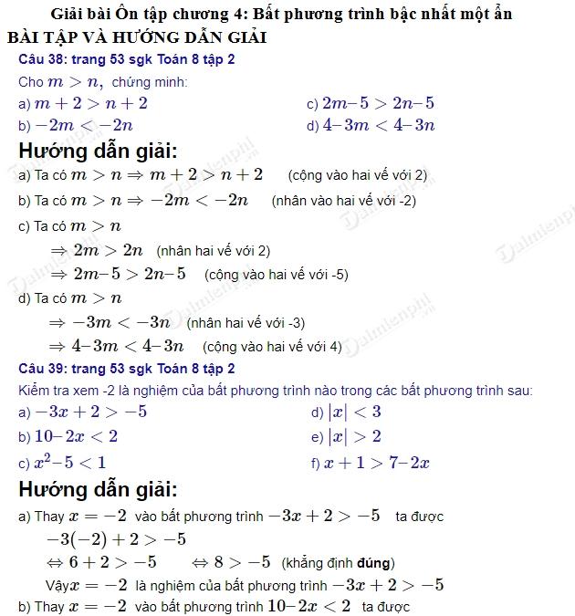 giai toan 8 trang 52 54 sgk tap 2 on tap chuong 4 bat phuong trinh bac nhat mot an