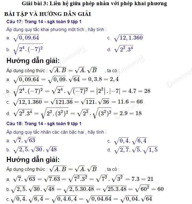 giai toan 9 trang 14 den 16 sgk tap 1 lien he giua phep nhan voi phep khai phuong