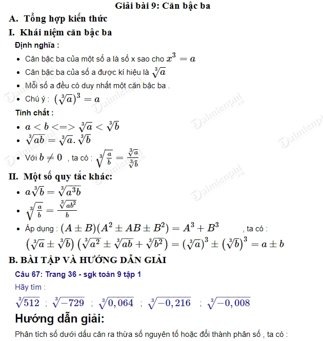 giai toan 9 trang 36 sgk tap 1 can bac ba
