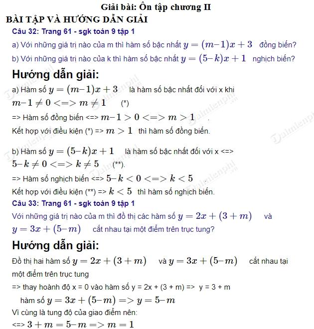 giai toan 9 trang 61 sgk tap 1 on tap chuong 2