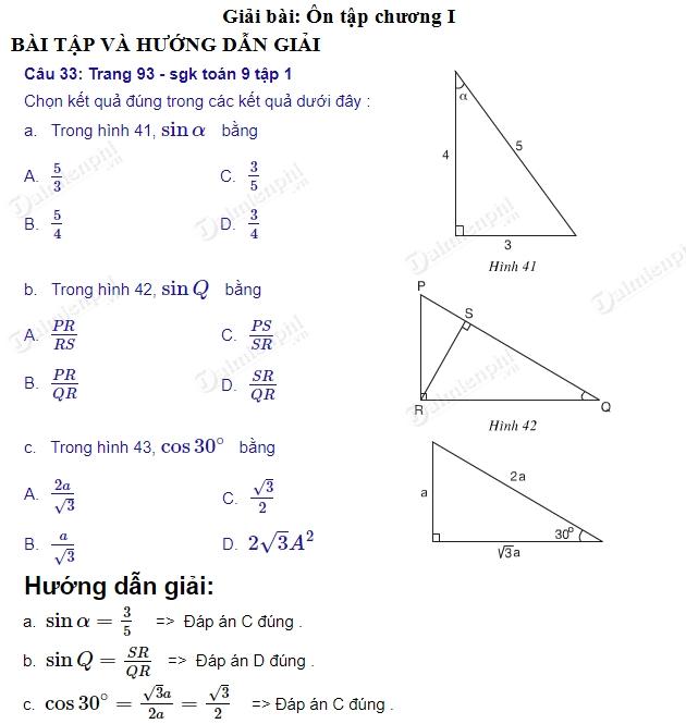 giai toan 9 trang 94 den 96 sgk tap 1 on tap chuong 1