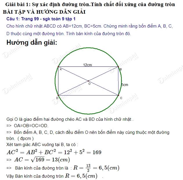 giai toan 9 trang 99 den 101 sgk tap 1 su xac dinh duong tron tinh chat doi xung cua duong tron