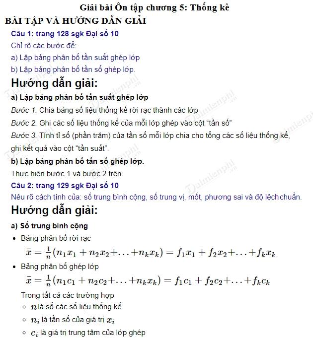 giai toan 10 trang 128 den 130 sgk tap 1 on tap chuong 5 thong ke