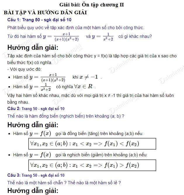 giai toan 10 trang 50 51 sgk tap 1 on tap chuong 2