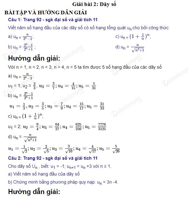 giai toan 11 trang 92 sgk day so