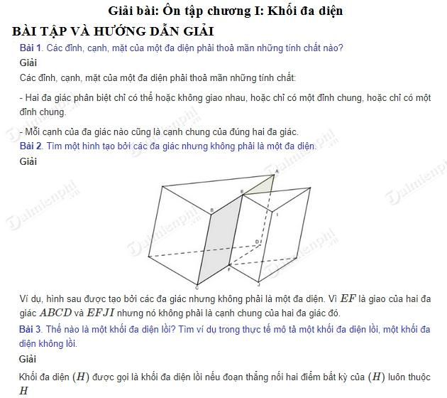 giai toan 12 trang 26 den 28 sgk on tap chuong 1 khoi da dien