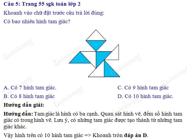 Giải bài tập trang 55 SGK toán 2