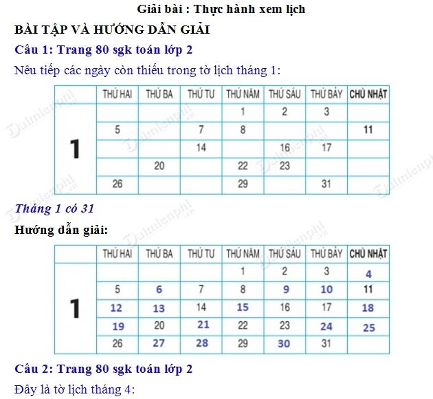 giai toan 2 trang 80 sgk thuc hanh xem lich