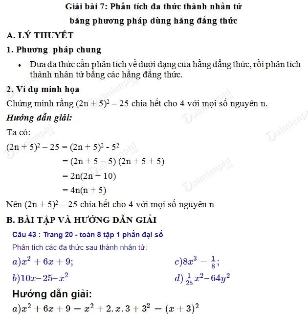 giai toan 8 trang 20 21 sgk tap 1 phan tich da thuc thanh nhan tu bang phuong phap dung hang dang thuc