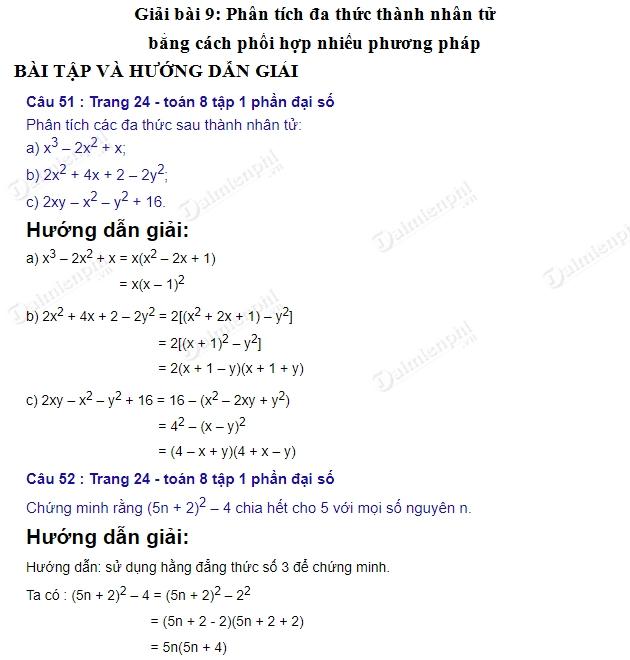 giai toan 8 trang 24 25 sgk tap 1 phan tich da thuc thanh nhan tu bang cach phoi hop nhieu phuong phap