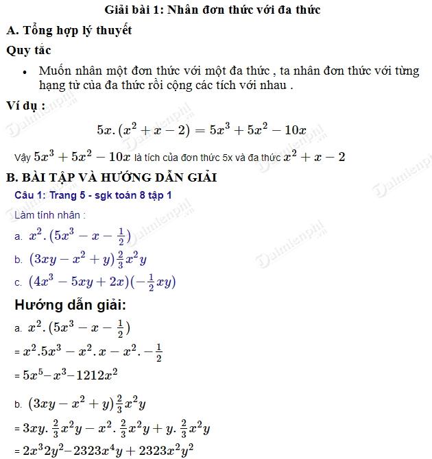 giai toan 8 trang 5 6 sgk tap 1 nhan don thuc voi da thuc
