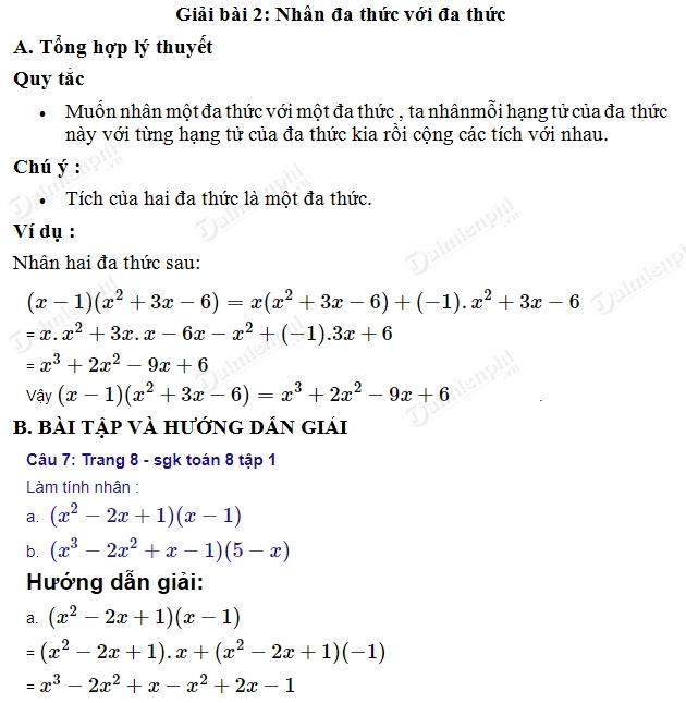 giai toan 8 trang 8 9 sgk tap 1 nhan da thuc voi da thuc