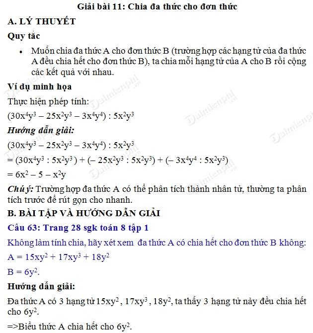 giai toan 8 trang 28 29 sgk tap 1 chia da thuc cho don thuc