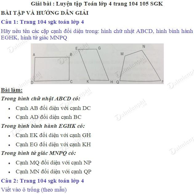 giai toan 4 trang 104 105 sgk luyen tap