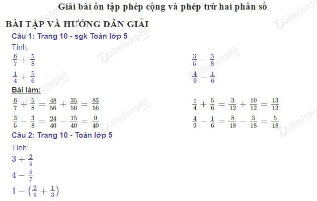 giai toan 5 trang 10 sgk on tap phep cong va phep tru hai phan so