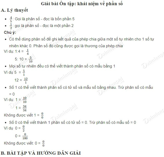 giai toan 5 trang 4 sgk on tap khai niem ve phan so
