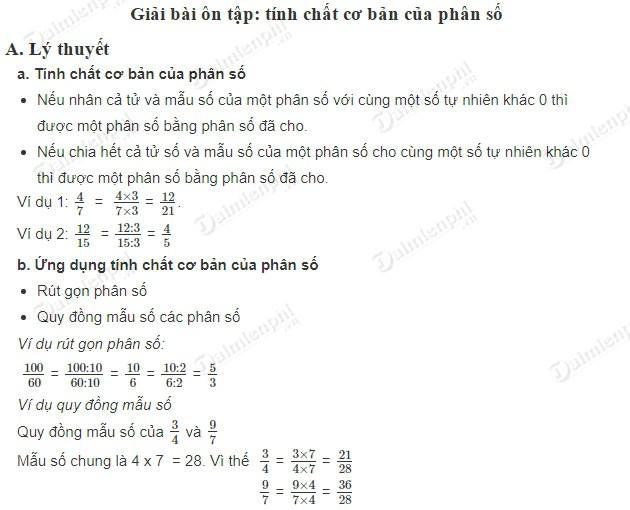 giai toan 5 trang 6 sgk on tap tinh chat co ban cua phan so