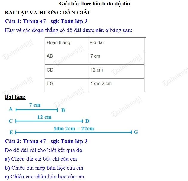 giai toan 3 trang 47 sgk thuc hanh do do dai