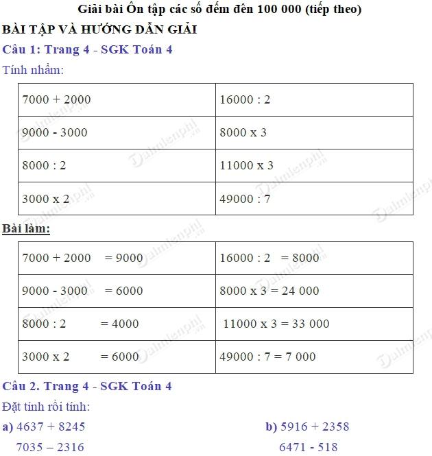 giai toan 4 trang 4 sgk on tap cac so den 100 000 tiep