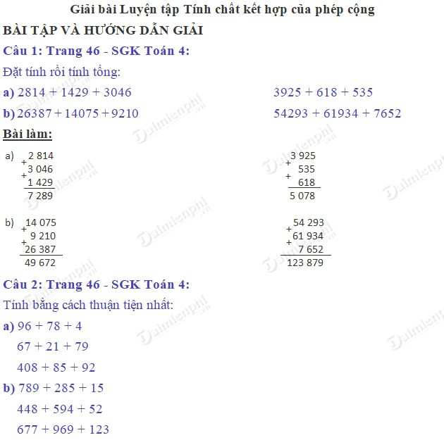 giai toan 4 trang 46 sgk luyen tap tinh chat ket hop cua phep cong