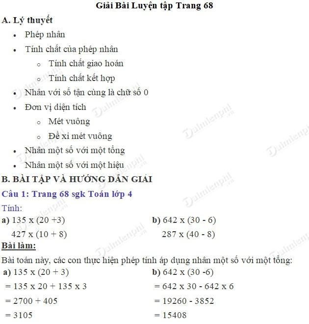 giai toan 4 trang 68 sgk luyen tap