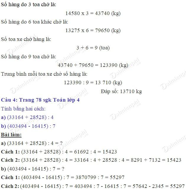 Giải bài tập trang 78 SGK toán 4 3
