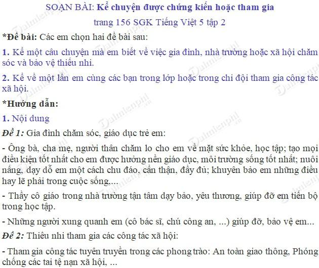 soan bai ke chuyen duoc chung kien hoac tham gia trang 156 sgk tieng viet 5 tap 2 soan tieng viet lop 5