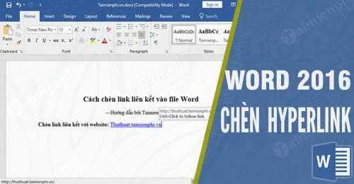 Cách chèn link liên kết vào file Word