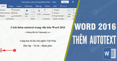 cach them autotext trong van ban word 2016