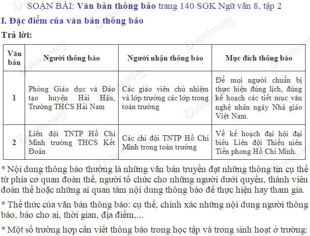 soan bai van ban thong bao trang 140 sgk ngu van 8 tap 2 soan van lop 8