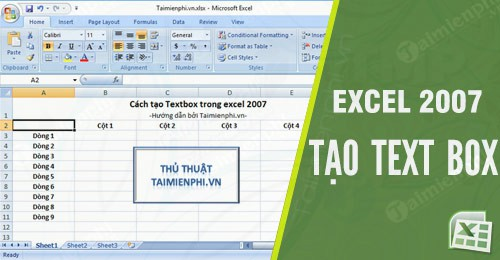 cach tao text box trong excel 2007