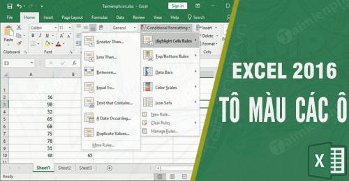 Công thức tô màu trong Excel