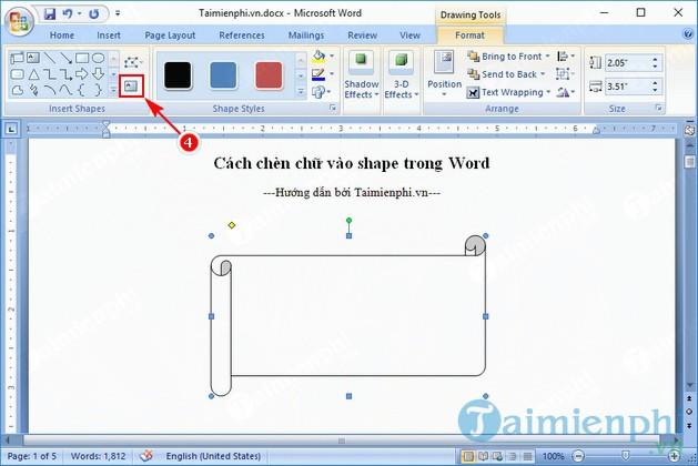 Hướng dẫn chèn chữ vào shape trong Word, vẽ hình trong word 2