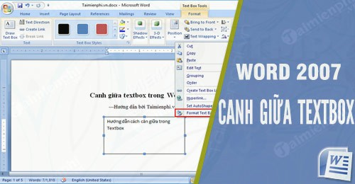 canh giua textbox trong word 2007