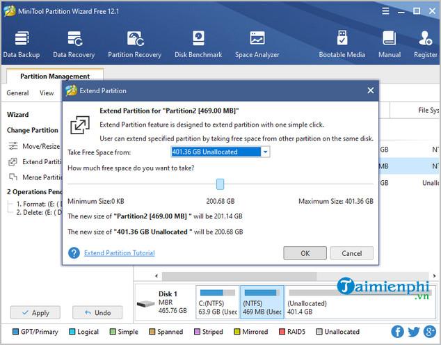 Cách sử dụng MiniTool Partition Wizard, gộp, chia, test ổ đĩa 9