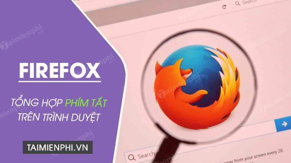 Phím tắt Firefox, tổng hợp phím tắt hữu ích trong trình duyệt Firefox