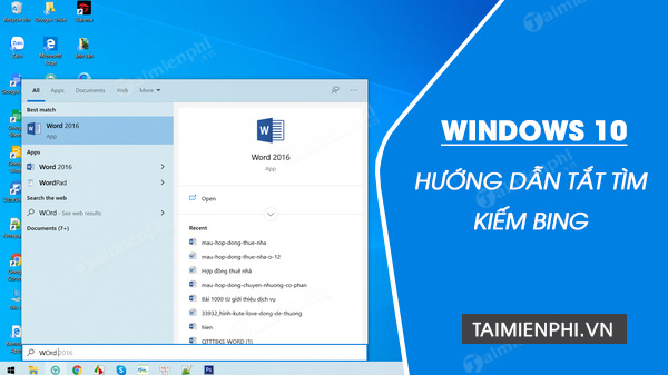 cach tat tim kiem bing tren start menu windows 10
