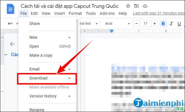 chuyen file google docs sang pdf