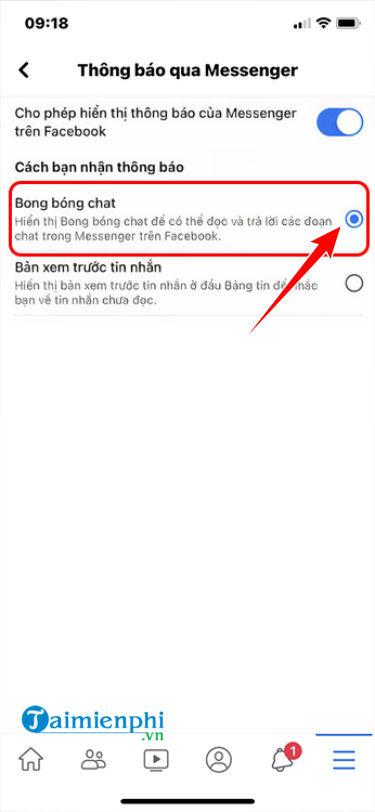 mo bong bong chat messenger tren iphone