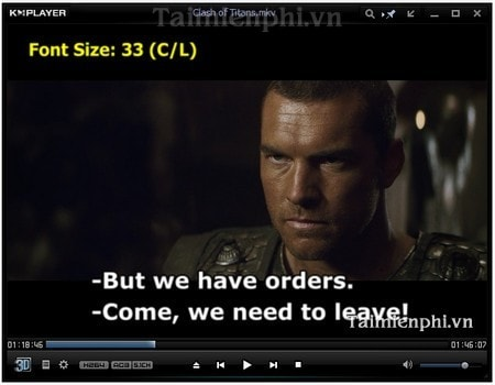 KMPlayer - Increase or decrease the size caption Video