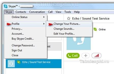 huong dan thay avatar skype