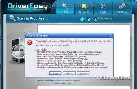khac phuc, sua loi An Application error occurred cua DriverEasy