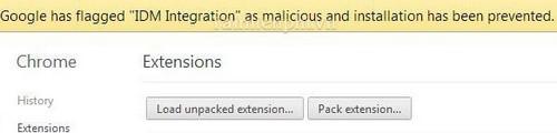khac phuc, xu ly loi IDM integration has malicious tren chrome