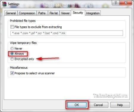 WinRAR - Bật tính năng tự động xóa các file tạm thời