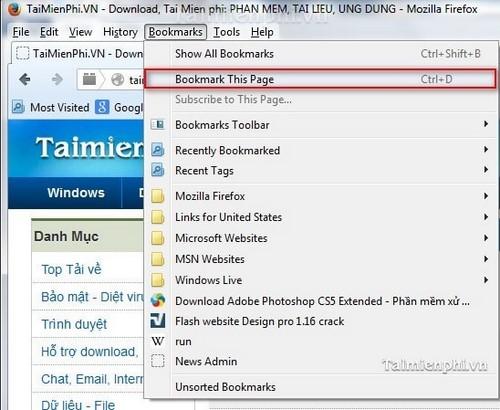 Firefox - Đưa trang web vào danh sách ưa thích